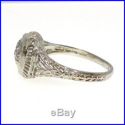 VTG Art Deco Antique Filigree 18K White Gold Ring Mine Cut Diamond Size 7 LHA2