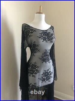 VTG Black Sheer Lace Art Deco Victorian BoHo Hippie Bell Sleeve Wedding DRESS