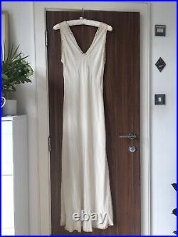 Vintage 1930s 100% Silk And Lace Slip Maxi Dress Bias Cut
