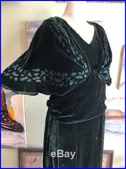 Vintage 1930s Hunter Green Silk Velvet Dress Voided Art Deco Capelet Belt VTG