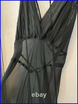 Vintage 1930s Sheer Black Silk Crepe Backless Bias Cut Dress Evening Gown L/XL