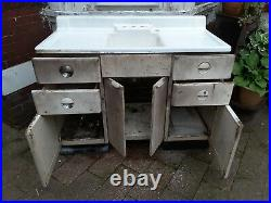 Vintage 1939 White porcelain 50 with metal cabinet kitchen farm sink art deco