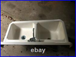 Vintage 1940 white cast iron double basin kitchen sink