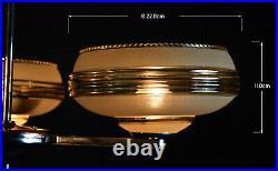 Vintage 1940s French Art deco 3 arm chandelier chrome plate, handmade Gilt glass