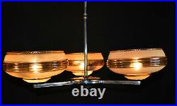 Vintage 1940s French Art deco 3 arm chandelier chrome plate, handmade Gilt glass