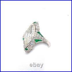 Vintage 2.75ct Marquise Diamond and Emerald Art Deco Ring in Platinum