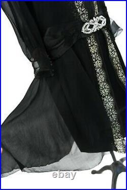 Vintage 20s Sheer Black Chiffon Mesh Metal Embroidered Drop Waist Art Deco Dress