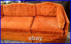 Vintage 70s tuffet fabric Velvet orange long couch sofa 96 W retro Furniture