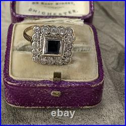 Vintage 9ct Gold Blue & White Spinel Princess Cluster Ring, Art Deco Style UK O