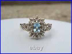 Vintage 9k 9ct gold Blue Topaz and Diamond cluster ring UK O US 7.5 nice gift