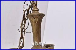 Vintage ART DECO Ceiling Light Lamp Fixture Pendant Brass hanging chandelier 5
