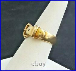 Vintage ART DECO Style 9k Solid Yellow Gold BELT BUCKLE Band Ring 8 3/4 7.3grams