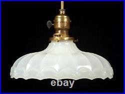 Vintage Antique 1920s Art Deco White Industrial Pendant Light Fixture 9 Shade
