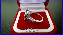Vintage & Antique Art Deco Engagement Sapphire Ring 14k White Gold 2.5Ct Diamond
