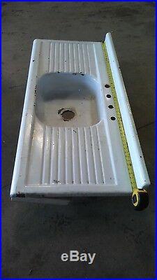 Vintage Antique Cast Iron Sink Double Drain Board Porcelain Farm