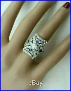 Vintage & Antique Retro Fine Art Deco Wedding Ring 14k White Gold Fn 2Ct Diamond