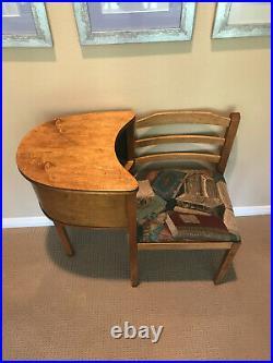 Vintage/Antique Telephone Table Gossip Chair/Bench Art Deco Mid Century Modern