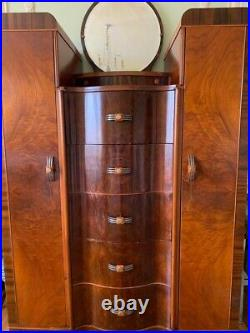 Vintage Armoire Wardrobe Art Deco Dresser Chest of 5 Drawers, 2 Doors, 1 Mirror