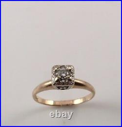 Vintage Art Deco 1/10 Ct Diamond Solitaire 14k Gold Engagement Ring