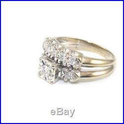 Vintage Art Deco 14K White Gold 1/2 ct Natural Diamond Wedding Ring Set Size 8.5