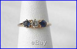 Vintage Art Deco 14k Rose Gold Sapphire Diamond 3 Stone Anniversary Band Ring