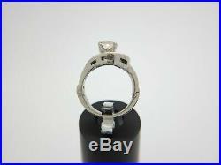 Vintage Art Deco 14k White Gold Old European Diamond Engagement Ring