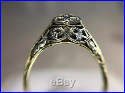 Vintage Art Deco 14k White Gold Old European Diamond Filigree Engagement Ring