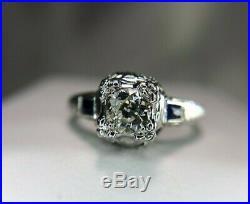 Vintage Art Deco 14k White Gold Old European Diamond Sapphire Engagement Ring