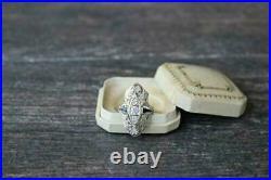 Vintage Art Deco 14k White Gold Over Engagement Wedding Ring 2 Ct Round Diamond
