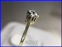 Vintage Art Deco 14k Yellow Gold Old European Diamond Filigree Engagement Ring
