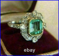 Vintage Art Deco 2Ct Asscher Green Emerald Engagement Ring 14K White Gold Over