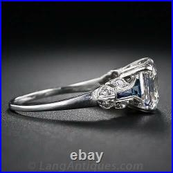 Vintage Art Deco 3.20Ct White Asscher Cut Diamond Engagement Ring 14k White Gold