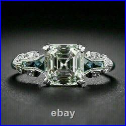 Vintage Art Deco 3.20Ct White Asscher Diamond 14k White Gold Engagement Ring