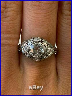 Vintage Art Deco Antique Engagement Ring Fine 14K White Gold Plated 2 Ct Diamond