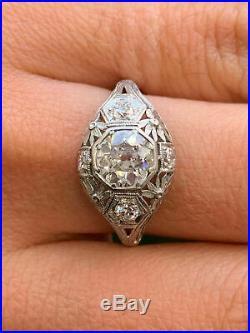 Vintage Art Deco Antique Engagement Ring Fine 2 Ct Diamond 14K White Gold Finish
