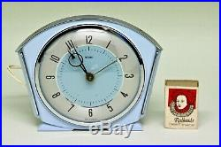 Vintage Art Deco Blue Bakelite Chrome 1947-50 Metamec Mains Electric Alarm Clock