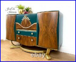 Vintage Art Deco DRINKS CABINET COCKTAILS CABINET SIDEBOARD in Green and Gold