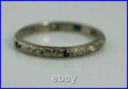 Vintage Art Deco Diamond Sapphire Wedding Band 14k White Gold size 5.5