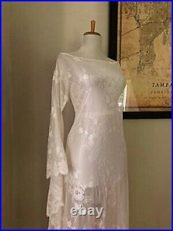 Vintage Art Deco Draped Sheer Lace BoHo Hippie Bell Sleeve Wedding Maxi DRESS