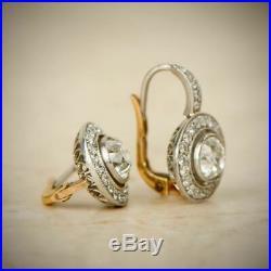 Vintage Art Deco Earring Antique Halo Earrings 2.1Ct Diamond 14k White Gold Over