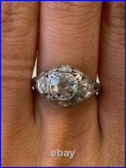Vintage Art Deco Engagement Ring 14k White Gold Over Antique 2.1Ct Diamond Ring