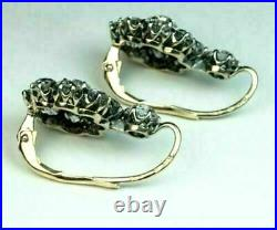 Vintage Art Deco Engagement Wedding Earrings 14K White Gold Over 5.87 Ct Diamond