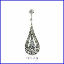 Vintage Art Deco Engagement Wedding Pendant 2.32 Ct Diamond 14K White Gold Over