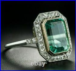 Vintage Art Deco Engagement Wedding Ring 14K White Gold Over 3.1 Ct Diamond Ring