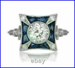 Vintage Art Deco Engagement & Wedding Ring 2.30 Ct Diamond 14k White Gold Over