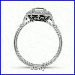 Vintage Art Deco Engagement Wedding Ring 3 Ct Pink Emerald Diamond 14K Gold Over