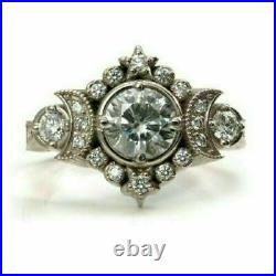 Vintage Art Deco Engagement Wedding Ring 925 Sterling Silver 2.1Ct Round Diamond
