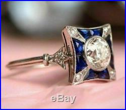 Vintage Art Deco Engagement Wedding Ring In 14k Gold Over 3Ct Diamond & Sapphire