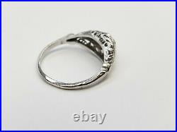 Vintage Art Deco European Cut Diamond Engagement Ring 14k White Gold
