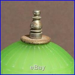 Vintage Art Deco Green Glass Skyscraper Table Lamp Night Light #2